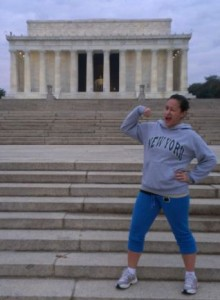 Popeye posing in front of the Lincoln Memorial!