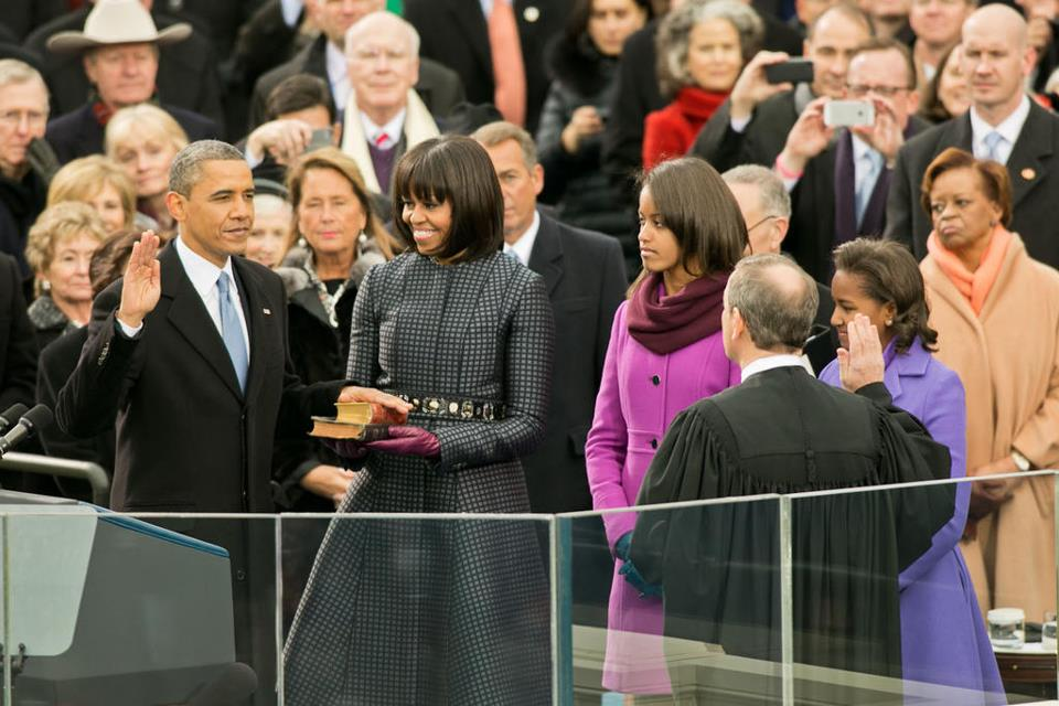 Michelle Obama sporting Thom Browne Dress during swearing in ceremony.