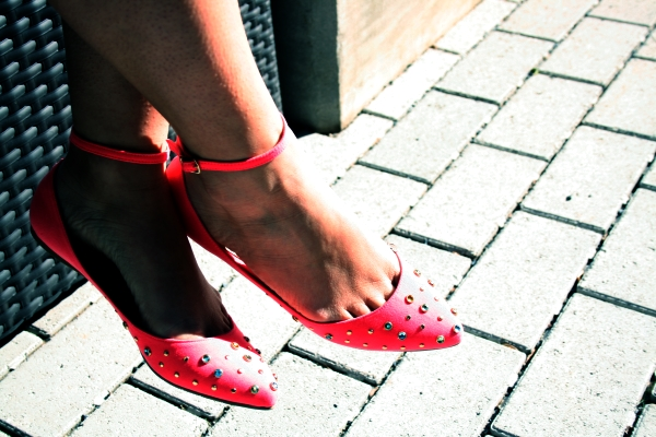 A little rhinestone love on an ankle strap flat from Forever 21 $24.80. These lovely coral colored flats will work well with just about anything this season and bring a little pop of fun to an outfit.