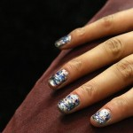At Rebecca Minkoff, nails were painted to look like oil slicks.