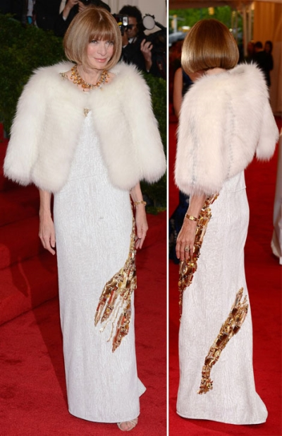 The master of ceremonies, Anna Wintour in a white Prada dress and fur cape at the 2012 Met Gala. No Met Gala list is complete without mentioning the woman who hosts this glamorous event and has final say of the elite guest list.