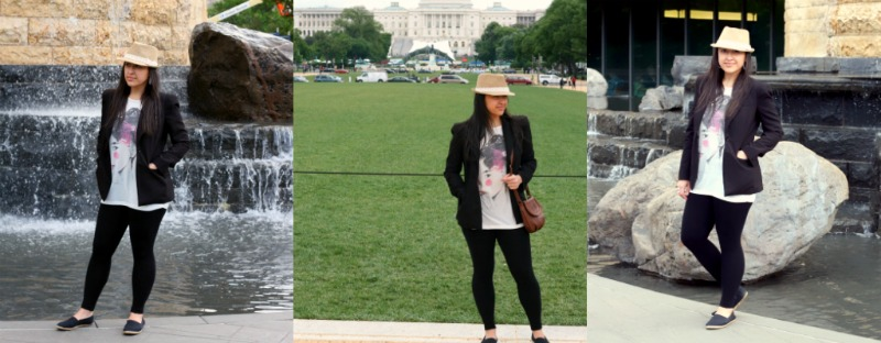 For a day of site seeing and photo taking while looking a cute some Aldo shoes, Steve Madden Leggings, Forever 21 blazer, Wet Seal hat and Korean T-Shirt from Korea.