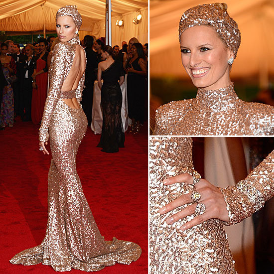 "2012 Met Gala. Model Karolina Kurkova wearing a custom made Rachel Zoe gold sequence gown with matching turban. This look screams opulence, glamour and very ""night in Monte Carlo"" and therefore having to be on my top ten list."