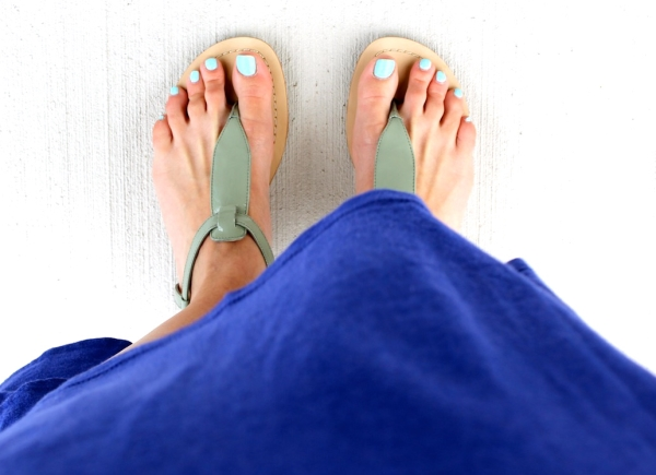 Sandals, dress, mint colored toes