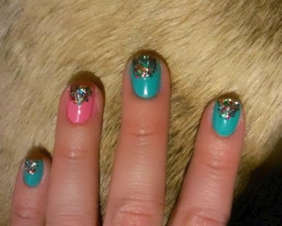 "Sparkle half moon nail designs. That lovely ""fur"" u see behind my designs is my puggle Bradford laying in my lap..lol"