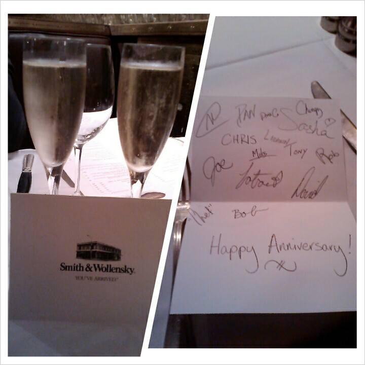 Some champagne and a lovely card from the staff at Smith and Wollensky.