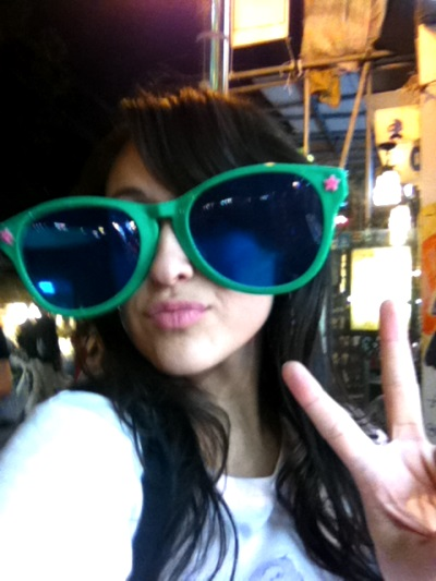 Tryin on shades at the night market. I wear my hater blockers at night ;)