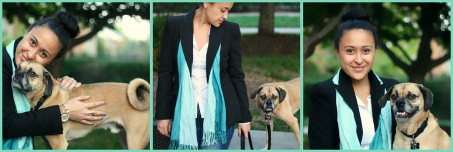 Scarves don't always have to be wrapped around you a hundred times to look like a neckbrace lol. Just a simple ombre colored scarf from Korea I like to throw on top of a blazer and some jeans. As always Bradford HAD to get in the pictures *Mommy and me photo session*