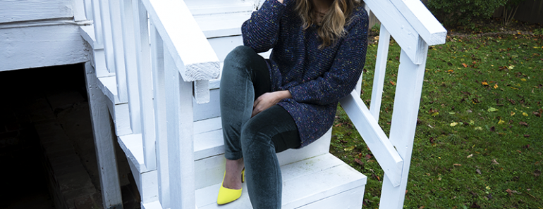 Editorial stylist Patty Chism in velvet leggings, knit sweater and neon heels.
