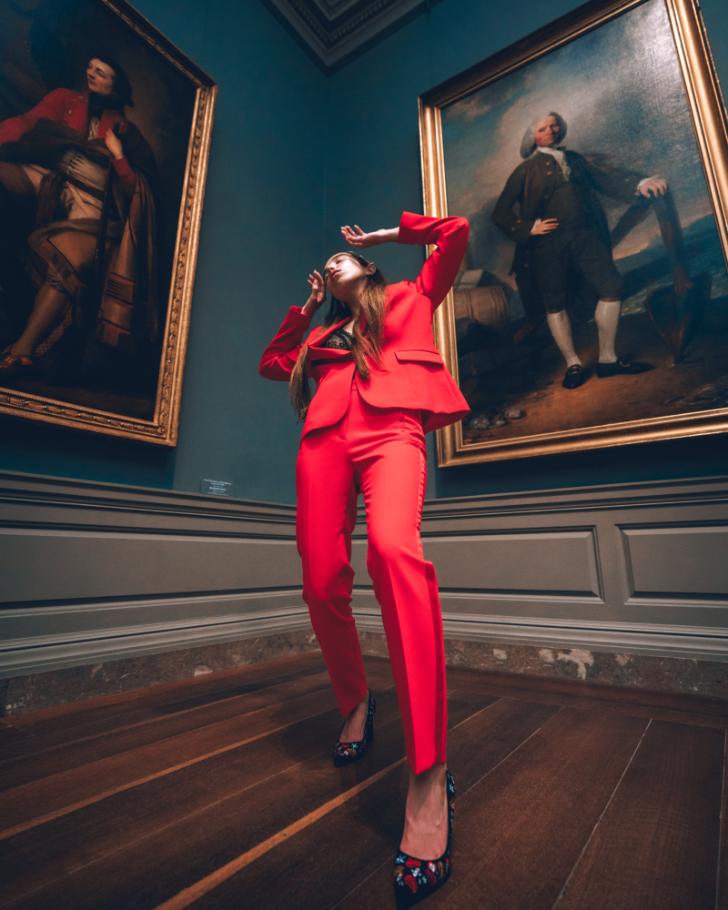 Editorial photos. Model styled by DC personal stylist Patty Chism in a red business suit by Zara.